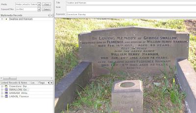 Displaying the multimedia window in Family Historian, showing the Swallow and Hannam gravestone with the text for George Swallow outlined by a box.