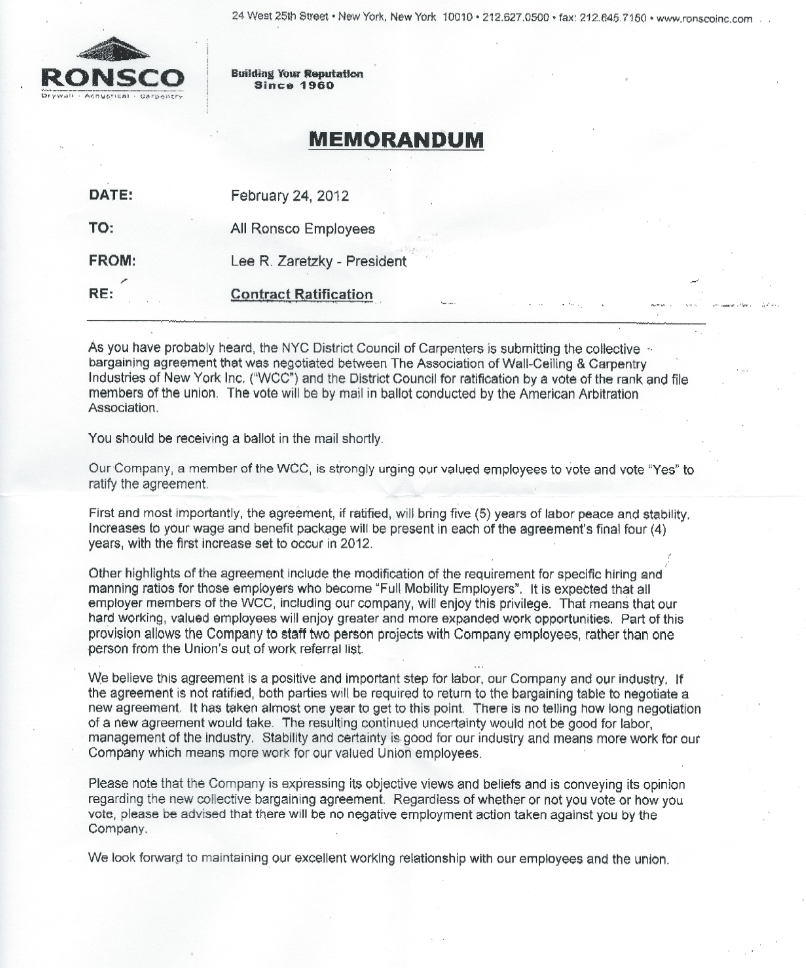 Local 157 blogspot Vote No on Contracts – Sample Collective Bargaining Agreement