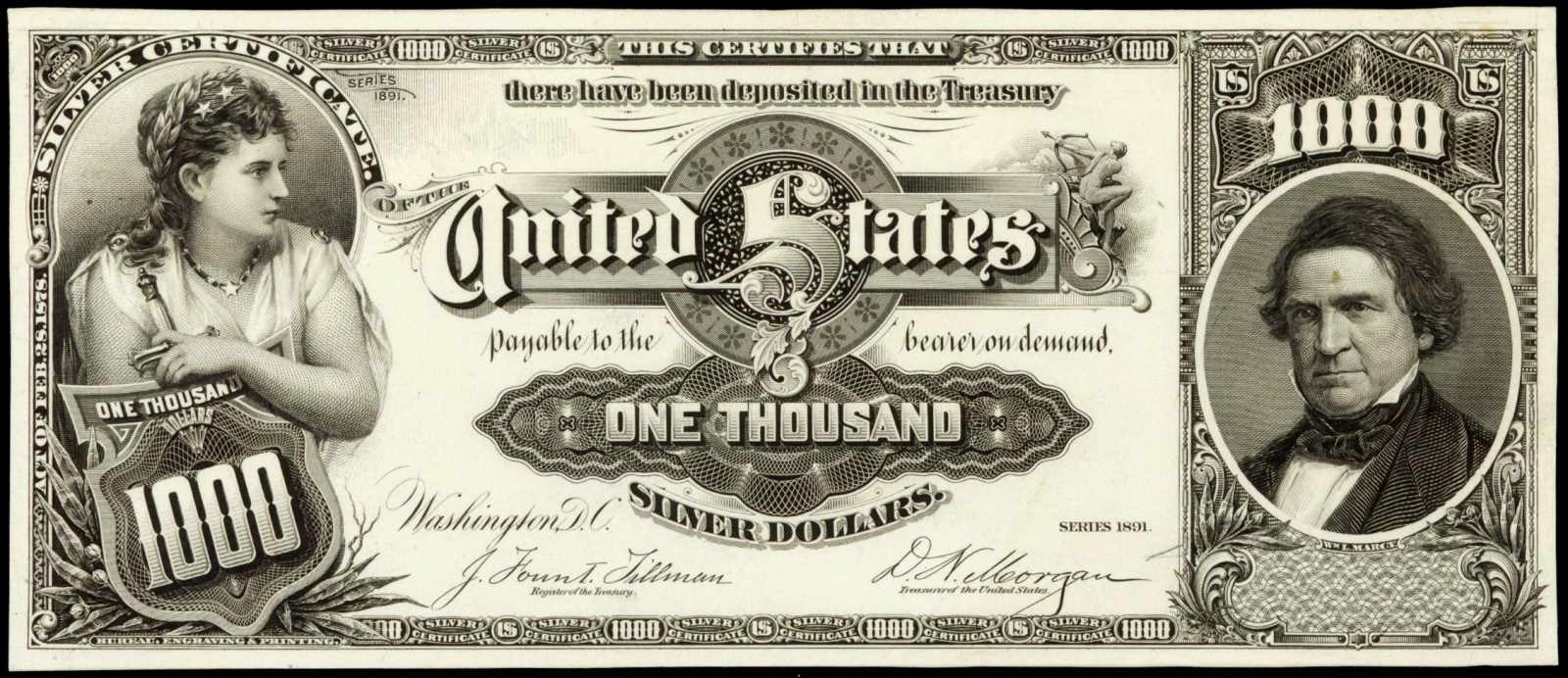 1000 Dollar bill Marcy Silver Certificate 1891