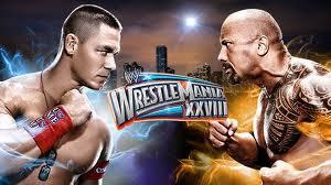 rock vs john cena wrestle mania