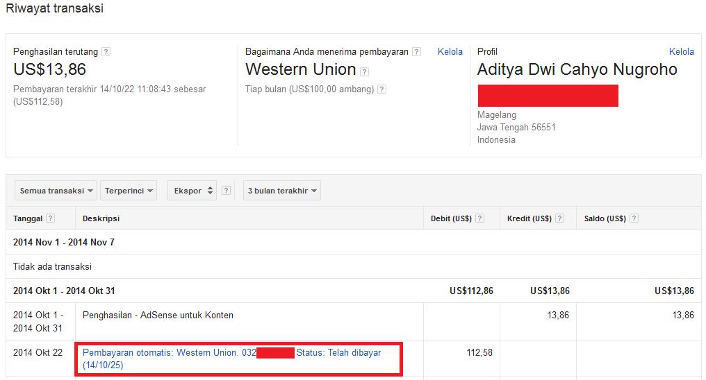 Cara Mencairkan Uang Google Adsense Via Western Union di BII Yogyakarta
