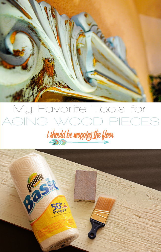 Aging wood pieces with paper towels and other tools.