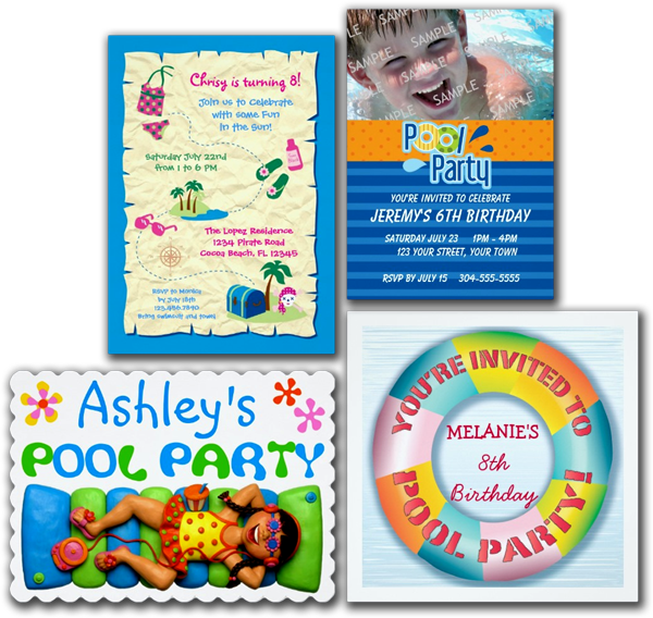 Pool Party Invitations, Pool Party Announcements and Invites