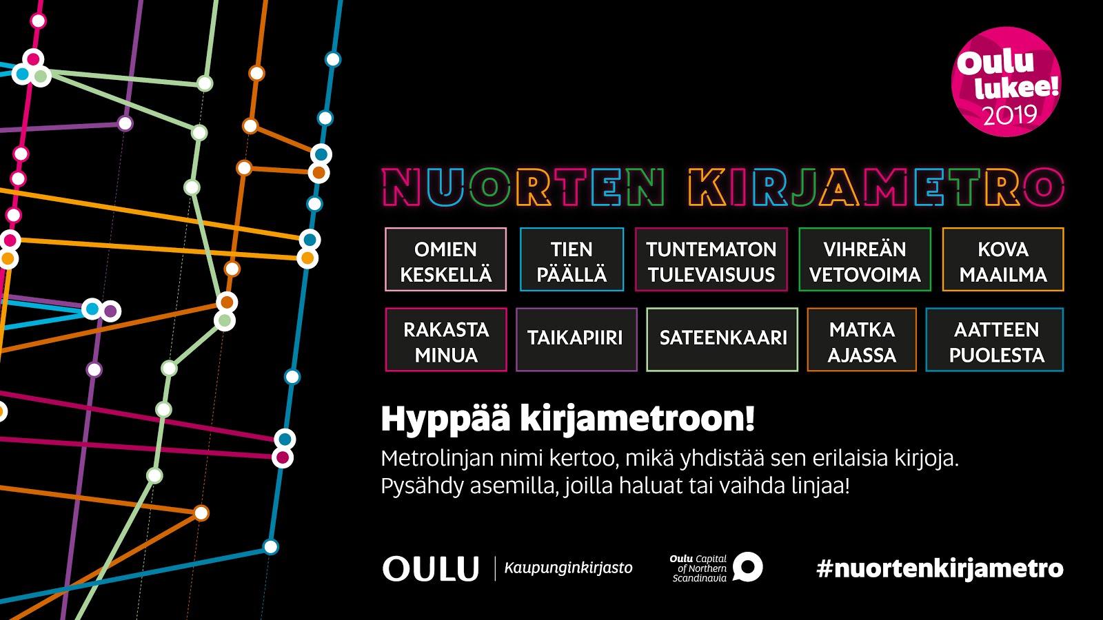 Lähde mukaan matkustamaan Oulun kaupunginkirjaston Nuorten kirjametron linjoilla: