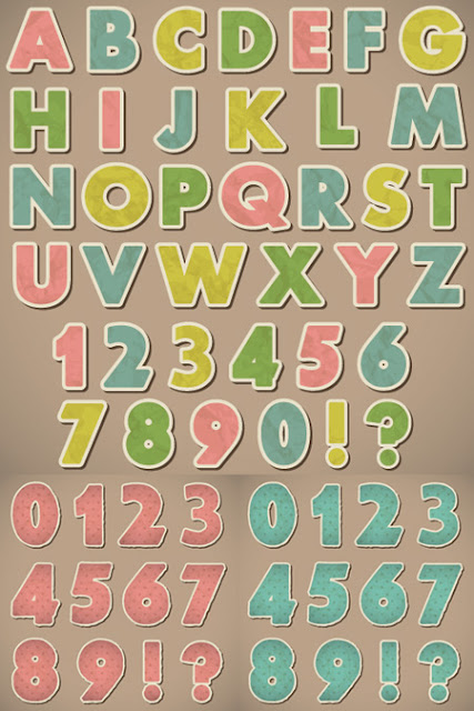 Retro Style Paper Alphabet and Numbers
