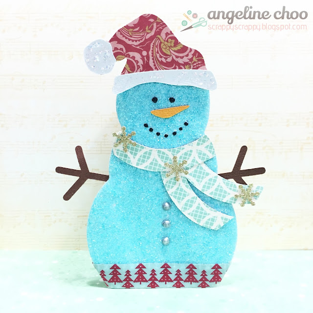 ScrappyScrappy: Christmas Snowman Treatbox #scrappyscrappy #thecuttingcafe #snowman #distress #glitter #timholtz #diecut #svg #cutfile