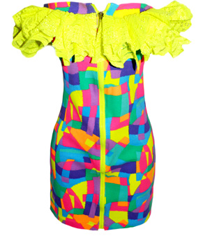 The Sophie Diary NEON DRESSES #0: Amber Rose Neon patchwork tube dress