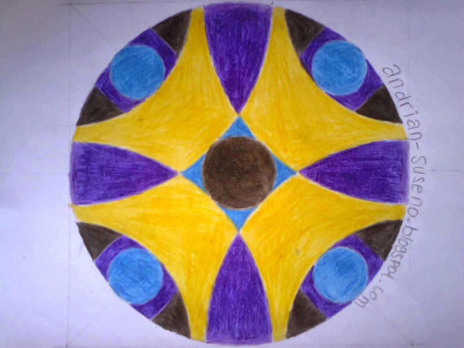 Gambar Ornamen Geometris Lingkaran dan Garis Campuran