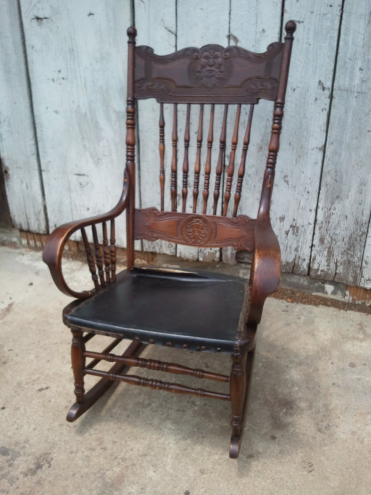 Pressed Back Rocking Chair (ca 1890) - John Mark Power, Antiques Conservator: Pressed Back Rocking Chair