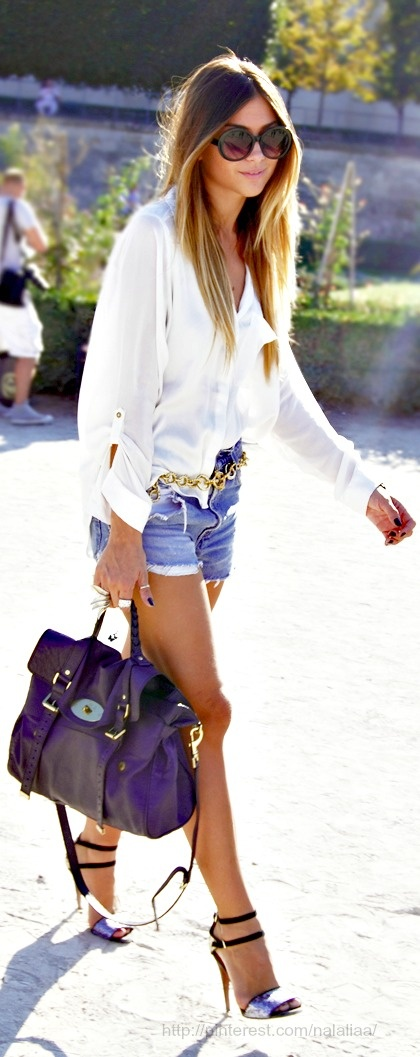 White loose shirt, jean shorts, purple hand bag and high heels for ladies