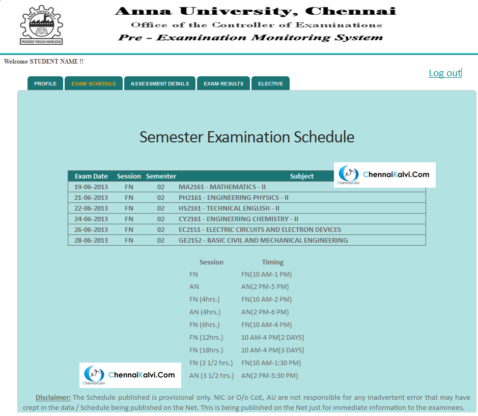 Anna University : Pre Examination Monitoring System - Detailed Demo