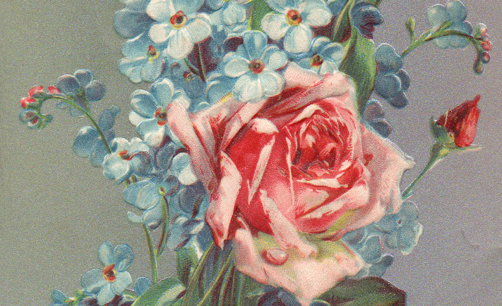 Leaping Frog Designs Vintage Post Card Rose Bouquet And