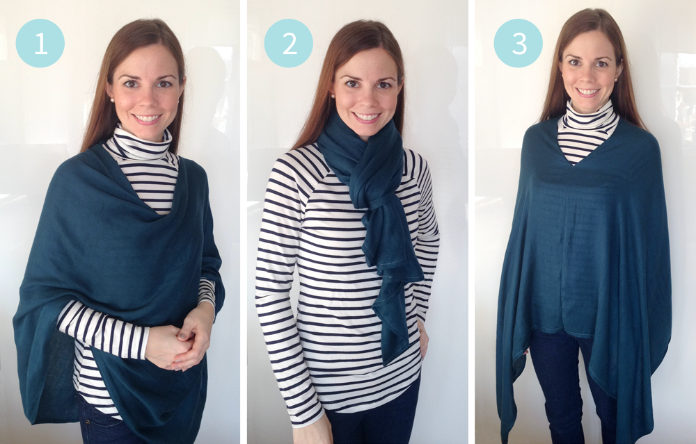 Pashmina Refashion Tutorial : Easy DIY 6-Way Convertible Scarf