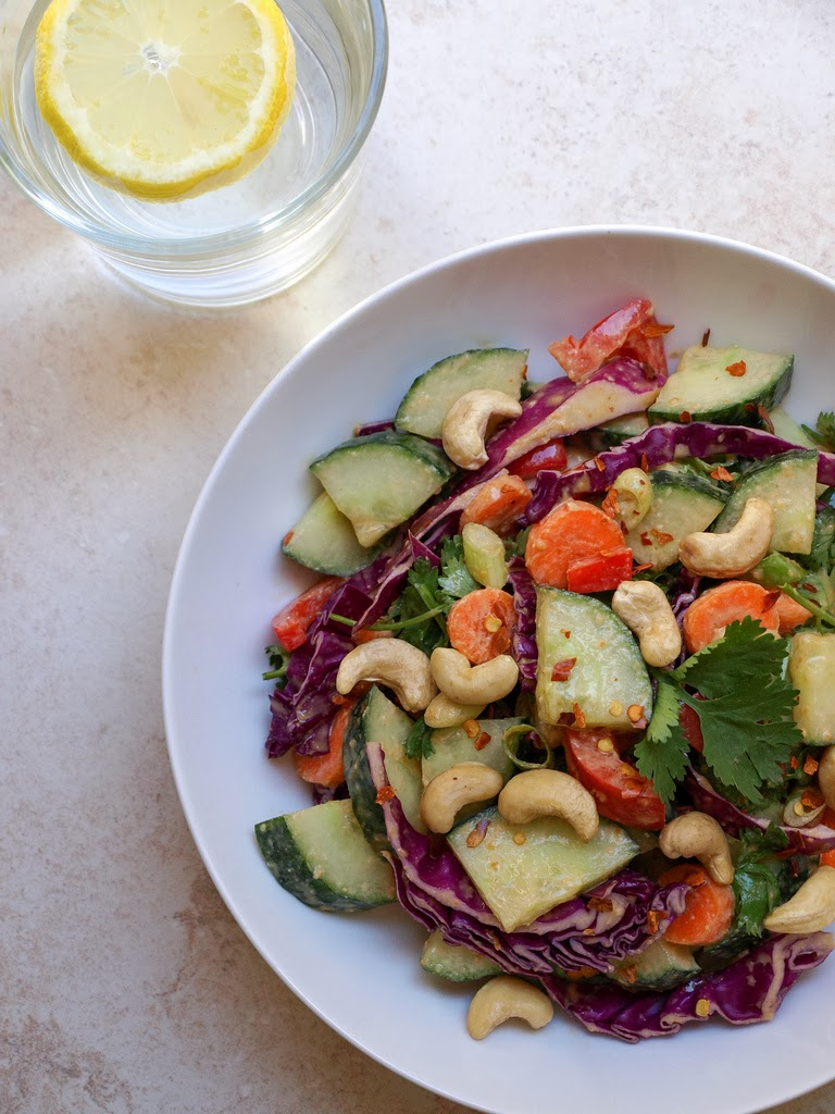 THE SIMPLE VEGANISTA: Cucumber Salad + Peanut Citrus Dressing