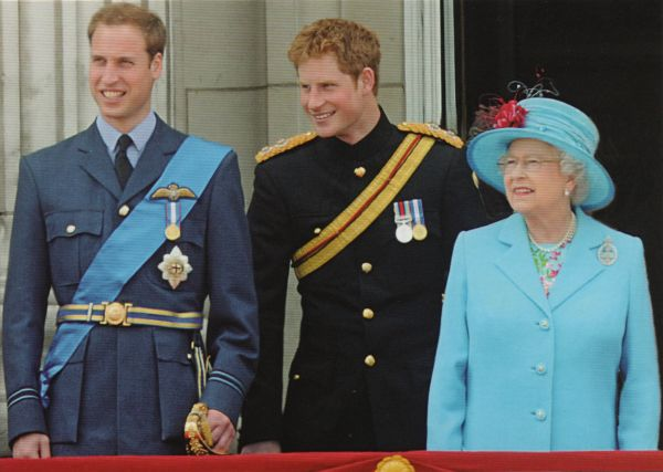 Queen Elizabeth with her grandsons William and Harry on the balcony of Buckingham Palace