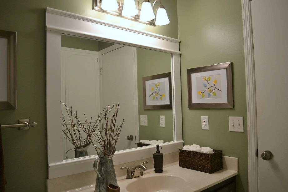Wonderful Bathroom Mirror Frame  No Grout  Tiling Bathroom Mirror Frames