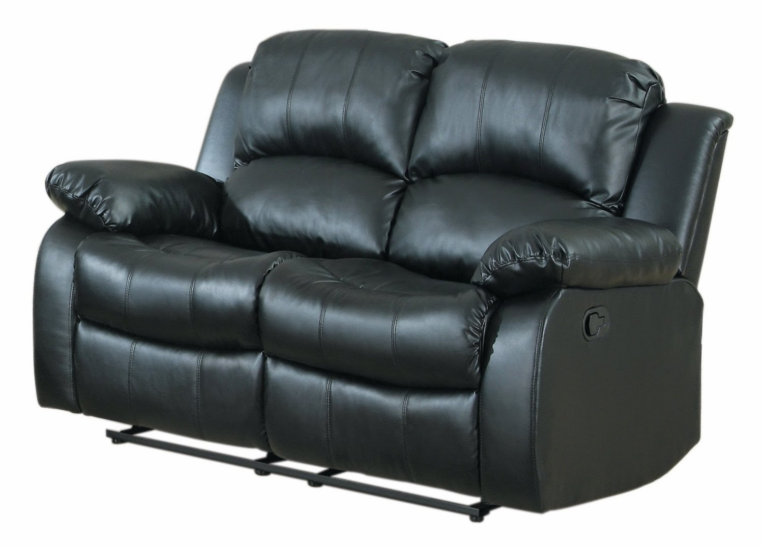 black bonded leather double reclining loveseat black modular leather