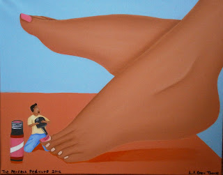 A shrunken man painting a giant woman's nails