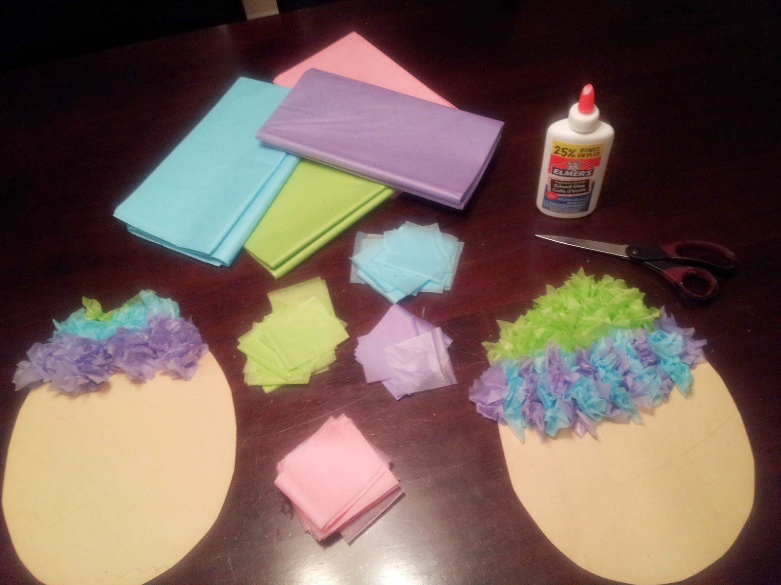 Tissue paper Easter egg craft, crafts, kids crafts