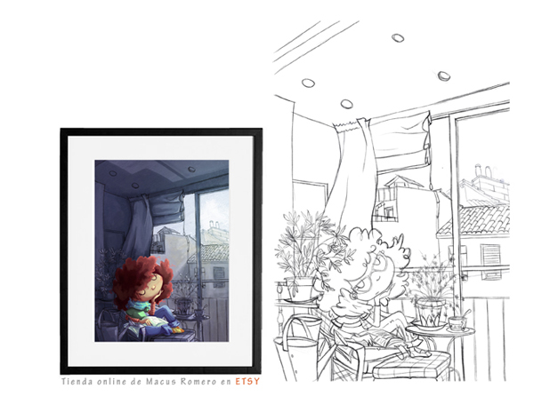 ilustracion Mi rincon de Lavapies. COMPRAR