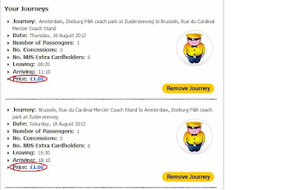 Tu przykładowa data na trasie Amsterdam-Bruksela-Amsterdam, terminów jest o wiele więcej!