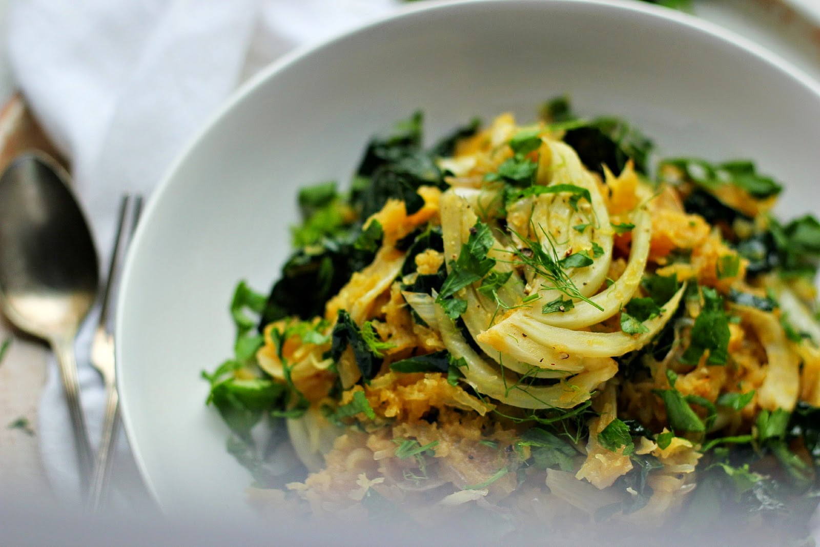 Herby Spaghetti Squash with Roasted Garlic, Kale, Fennel + Shallots ⎮ happy hearted kitchen