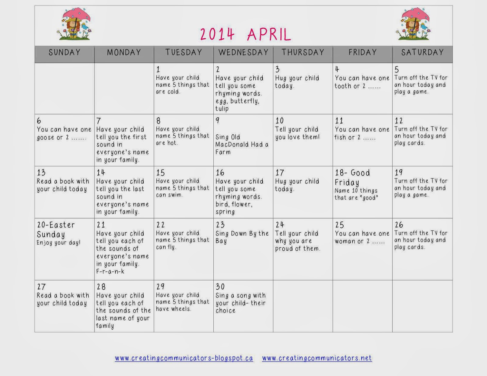 http://www.teacherspayteachers.com/Product/April-Language-Calendar-1173470