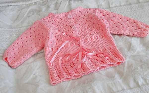 Вязание кофточки спицами для новорожденной девочки 39