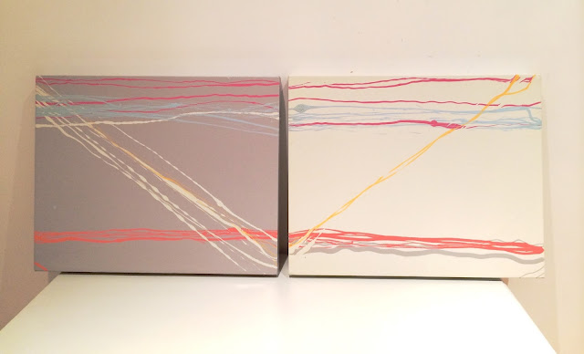 grey and ivory diptych abstract painting