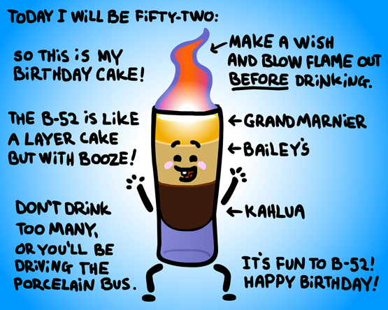 Cartoon recipe of a flaming B-52 cocktail.