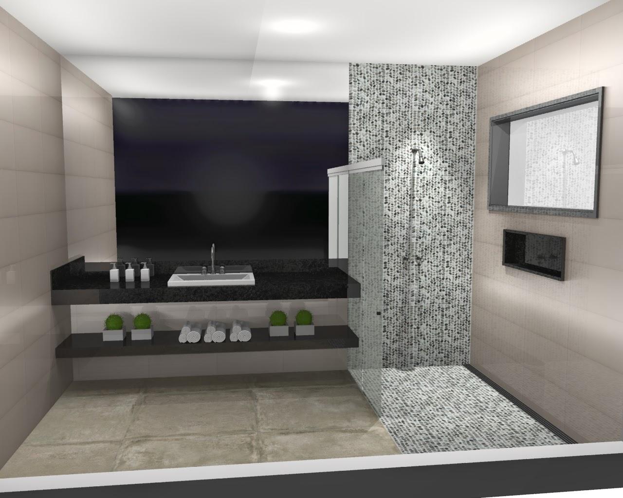 parede geral) Revestimento cor Nude com brilho tamanho 30x60  #70655B 1280x1024 Banheiro Com Porcelanato Concreto