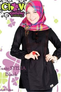 Clover Clothing Blus Syelia - Black (Toko Jilbab dan Busana Muslimah Terbaru)