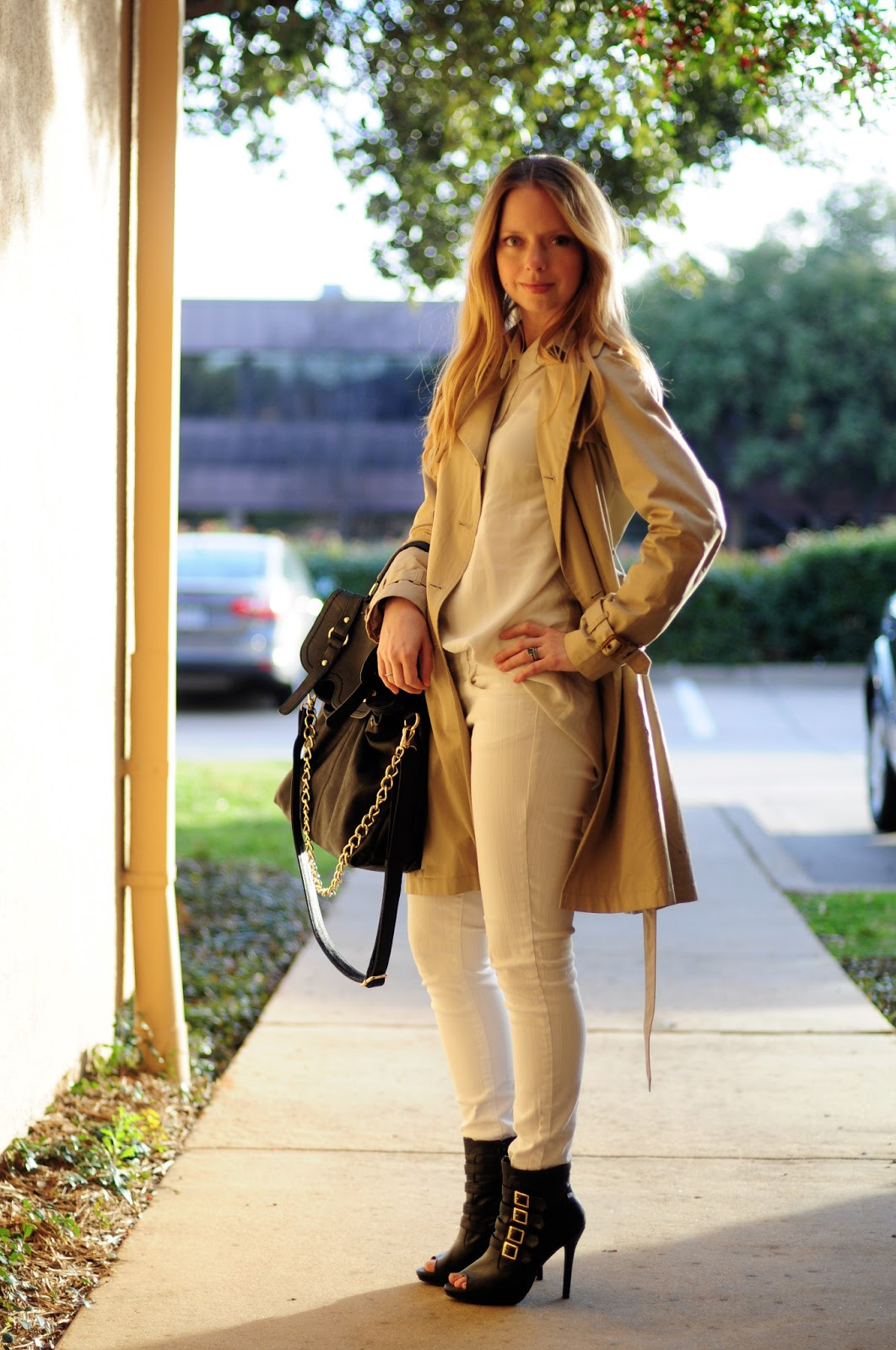 White with Trench and Black Accessories