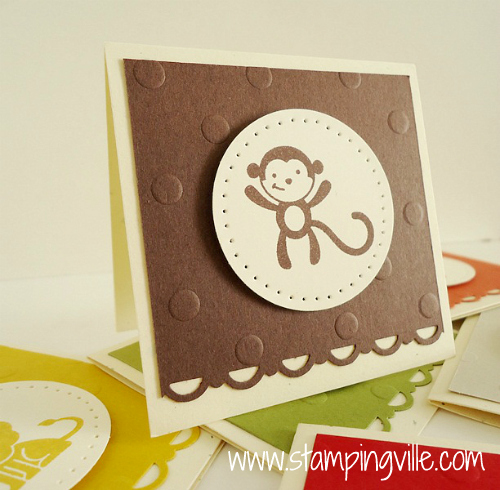 Simple dry embossing and paper-piercing add charm to mini cards