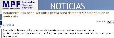 bafômetro decisão procuradoria geral da republica jurisprudencia Aecio Neves