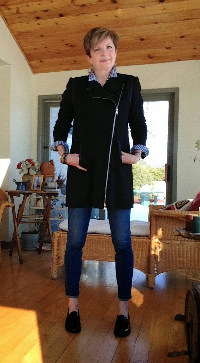 Citizens of Humanity jeans, Gap gingham shirt and Elie Tahari long jacket