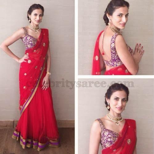 Shilpa Reddy in Red Half Saree