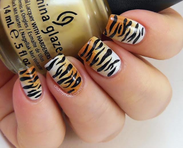 tiger print nail art