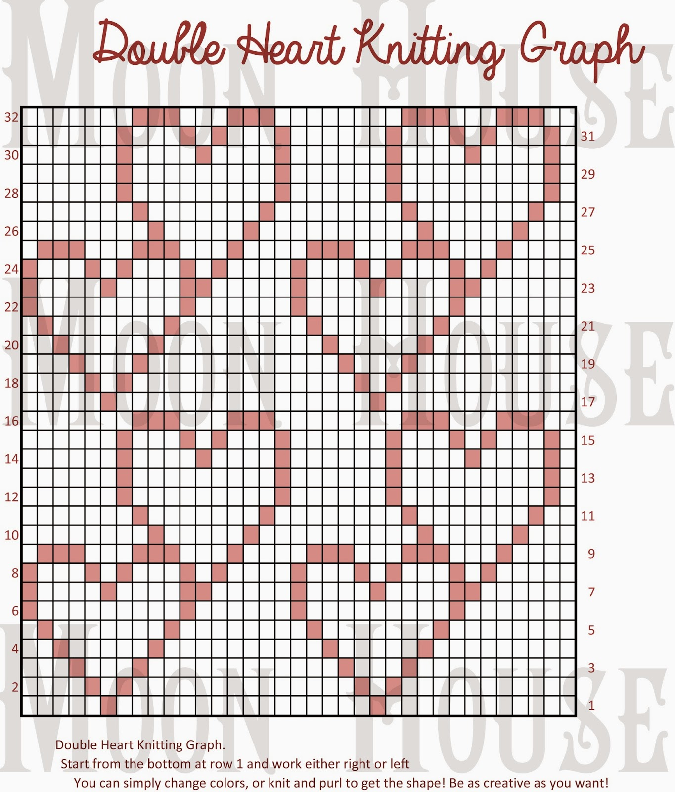 Knitting Design Graph : Moon house double heart knitting graph