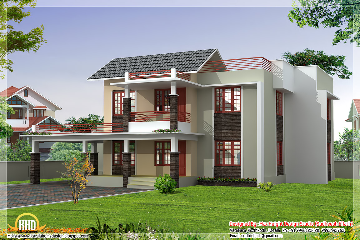Four india style house designs kerala home design kerala for Indian house outlook design