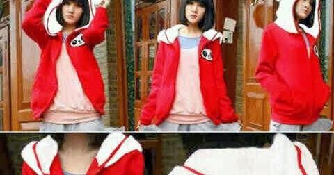 Baju Remaja Keren Jual Jaket Hoodie Panda Merah Putih