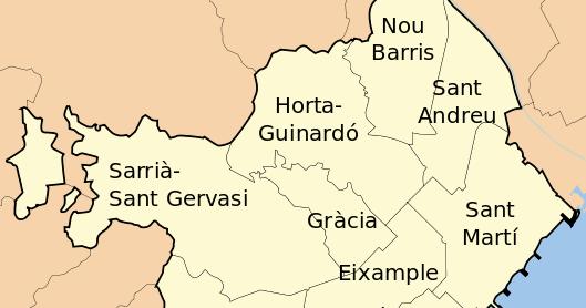 Imagenes Sin Copyright: Mapa de distritos de Barcelona