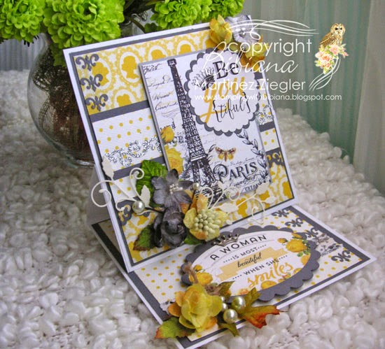 front easel card with petaloo and authentique papers