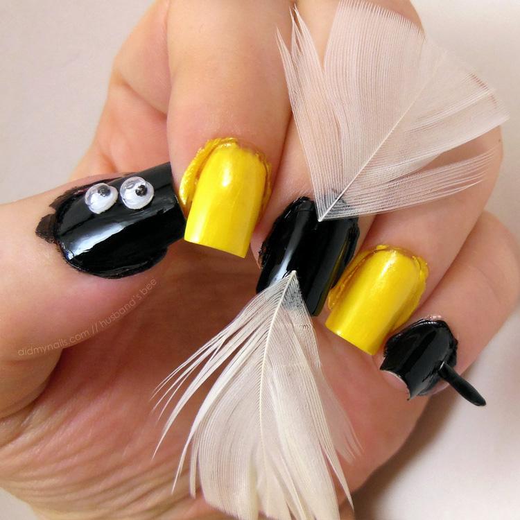 husband's bee nail art