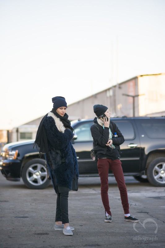 Model Leona Binx Walton and Julia Nobis are waiting their car during New York Fashion Week NYFW