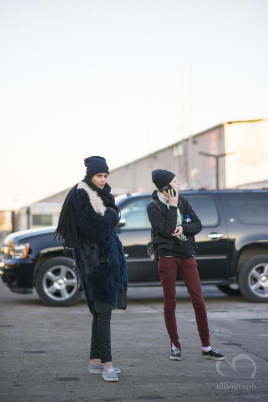 Model Leona Binx Walton and Julia Nobis are waiting their car during New York Fashion Week NYFW