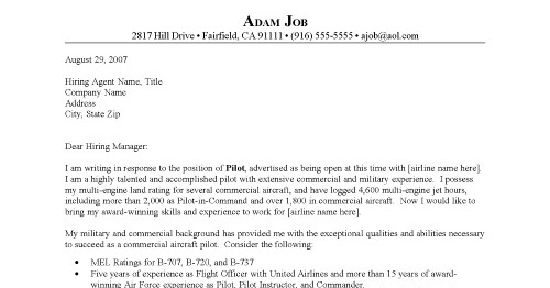 Pilot Cover Letter Example For Resume Examples Of Objectives
