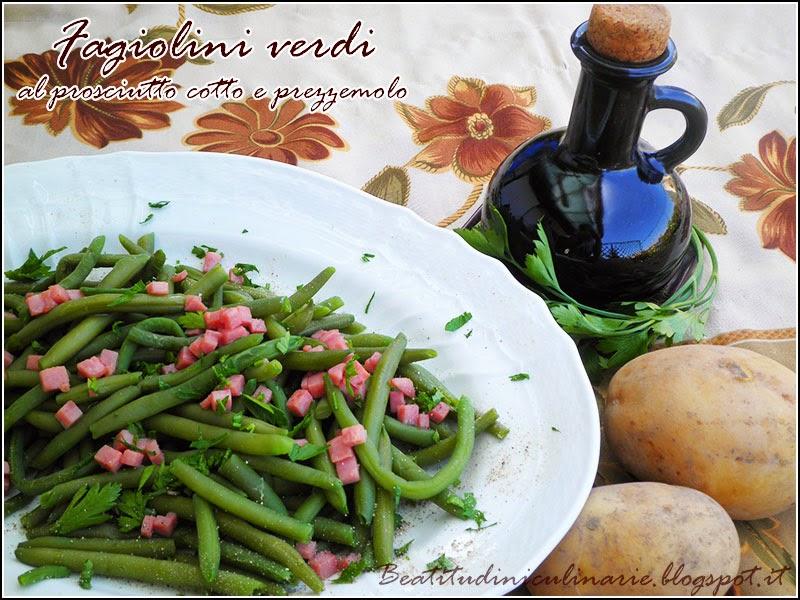 fagiolini verdi al prosciutto cotto e prezzemolo