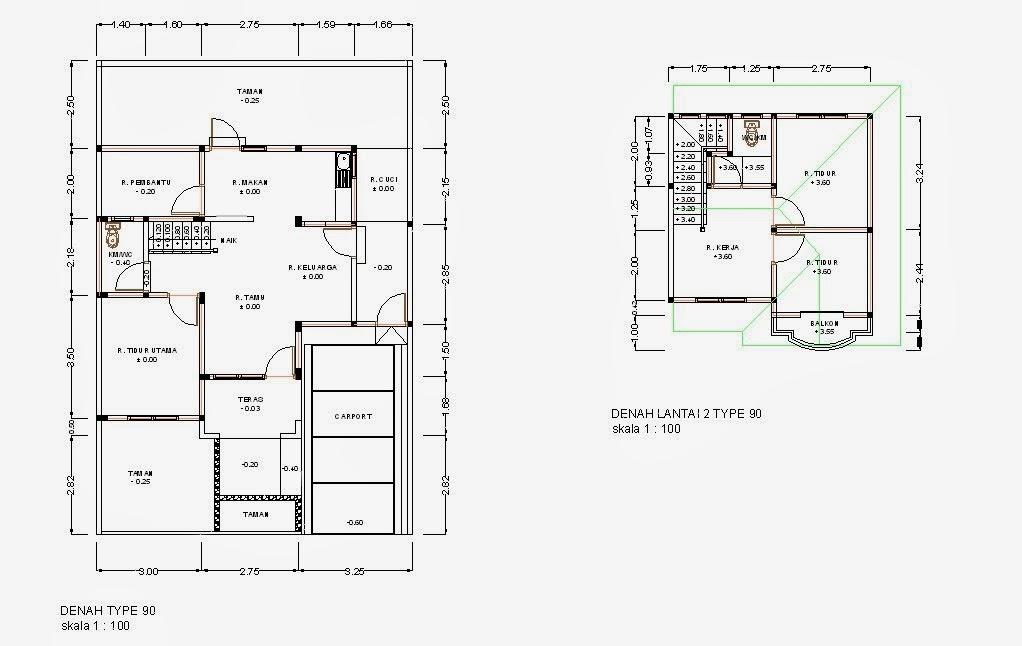 kumpulan denah dan gambar rumah tipe 90 minimalis modern 2016