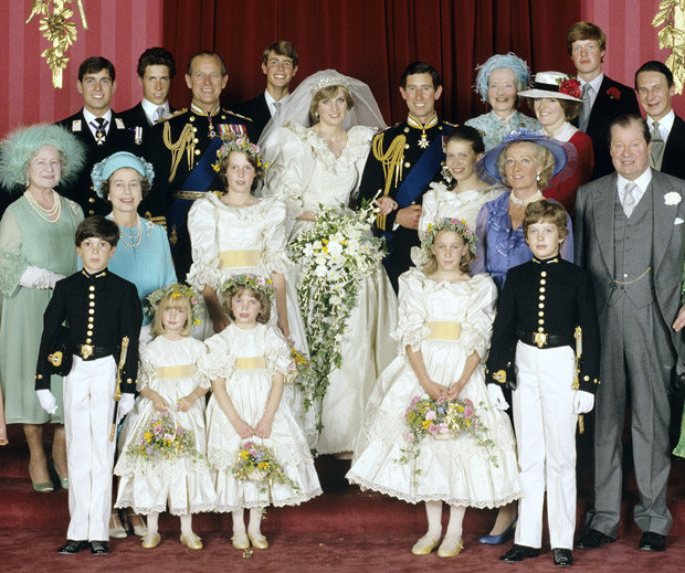 Royal Wedding Pictures: Prince Charles and Princess Diana with the Royal Family